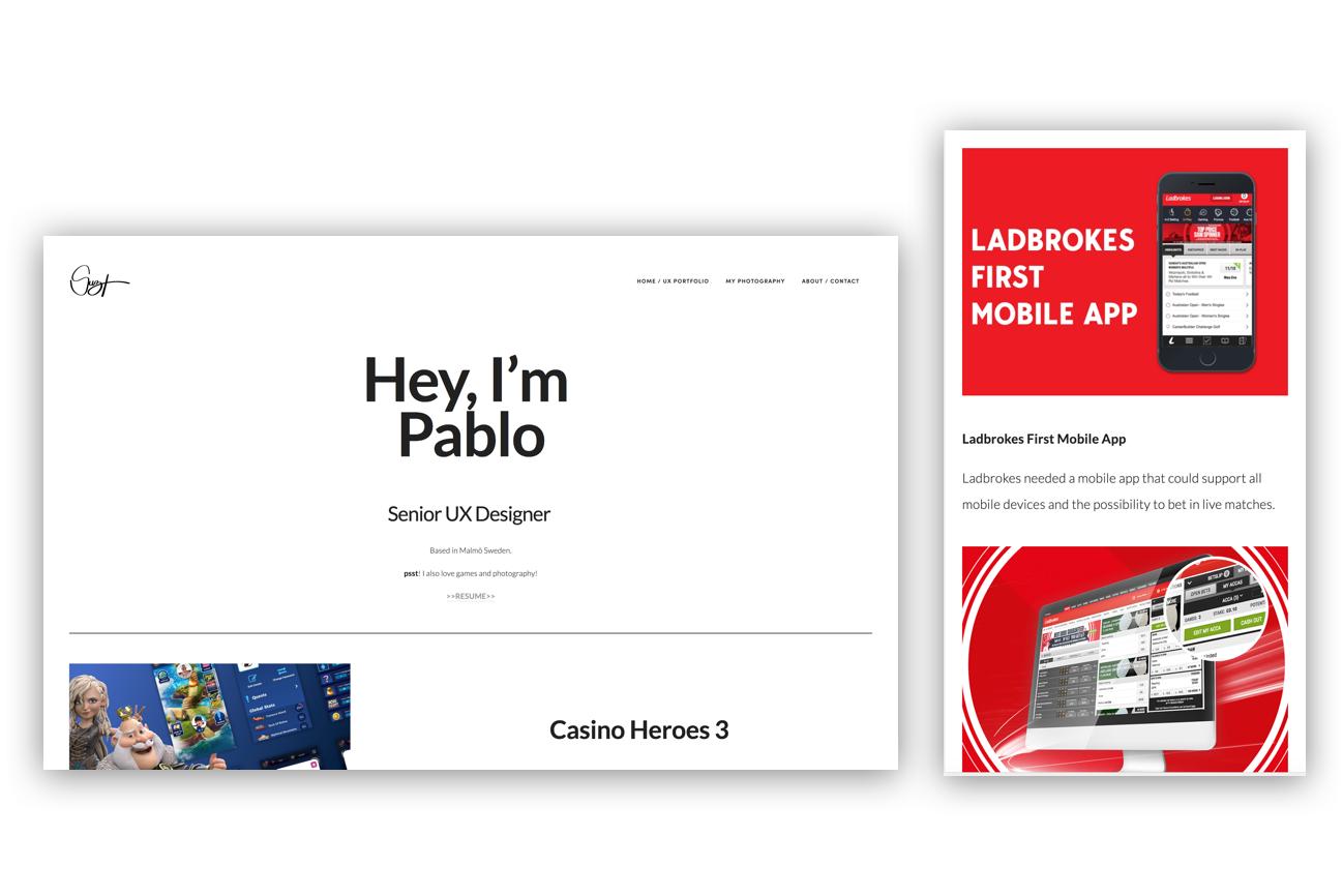 Pablo Suzarte - UX-designer redesign of portfolio.