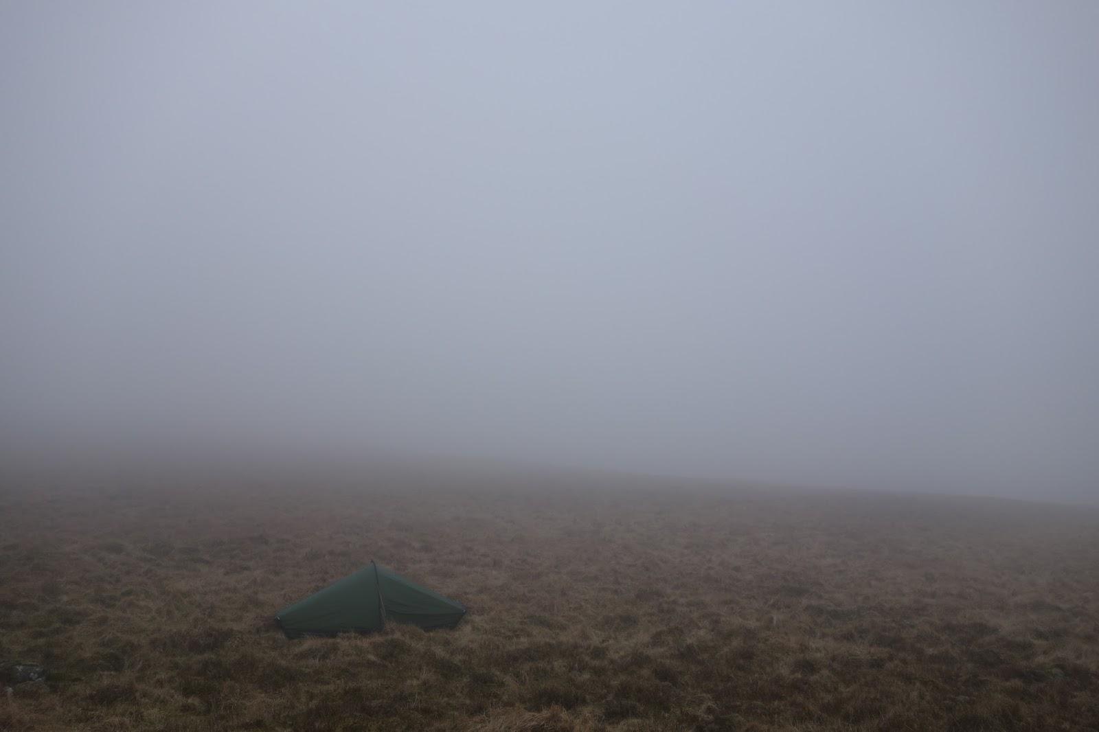 Tent in hill fog in Snowdonia