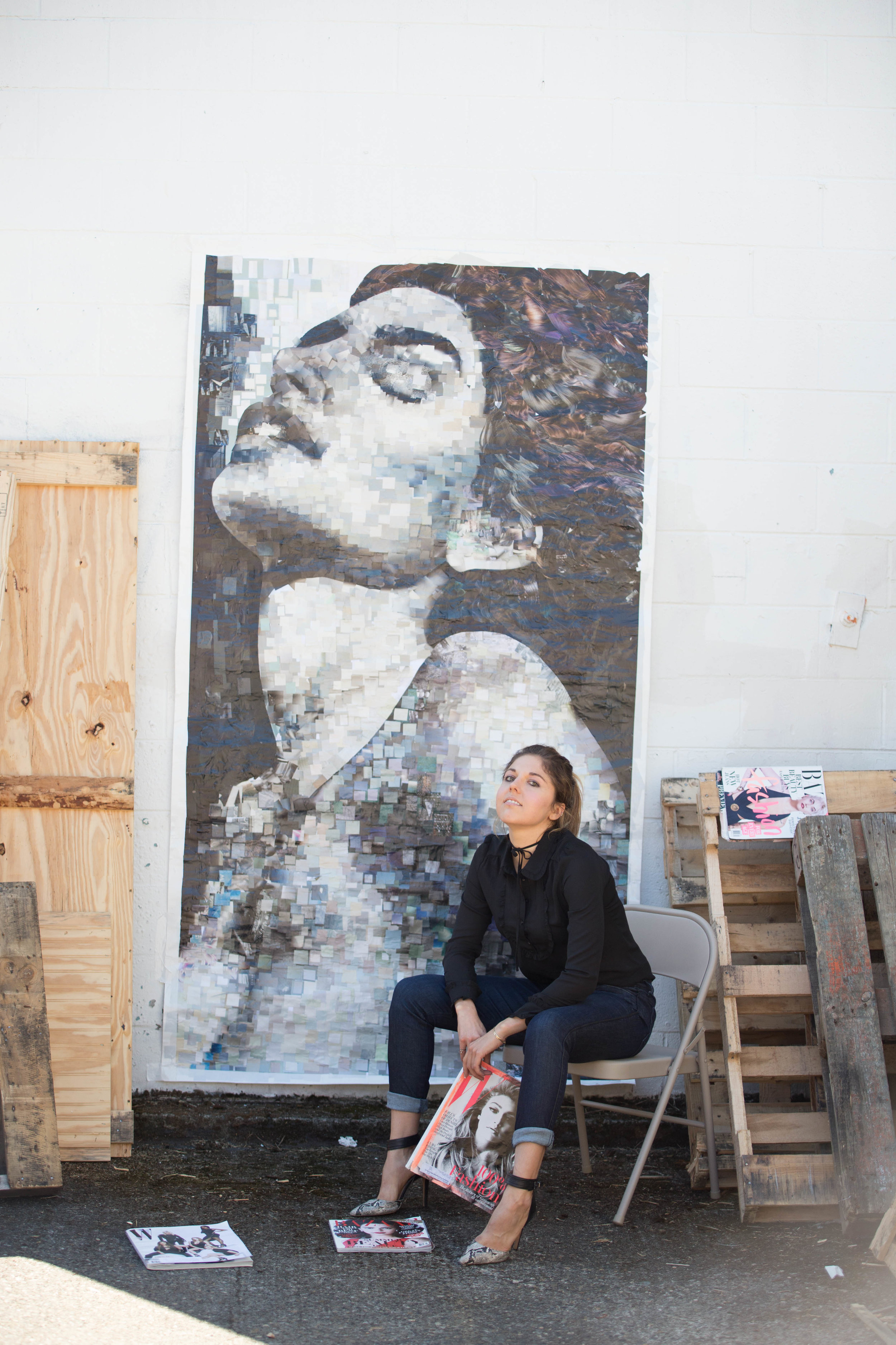 """With my massive 48x96"""" Cindy Crawford collage made from thousands of hand-cutout squares from recycled magazines that I gathered from local gyms and nail salons"""