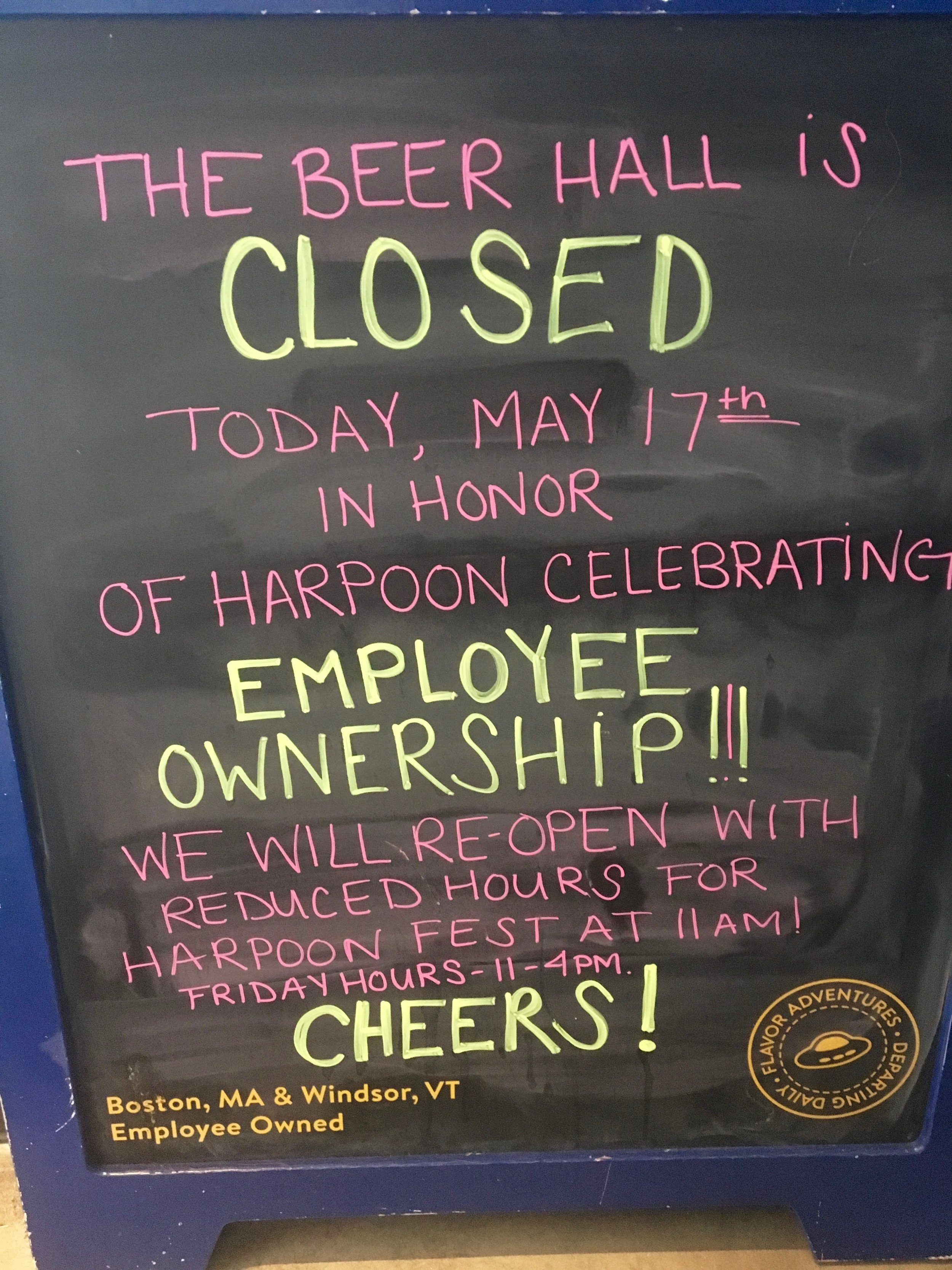 Just happened to see this sign tucked away in the corner. I asked Chris and Rich about it later and they said that every year they close the company for a day to celebrate being employee owners.