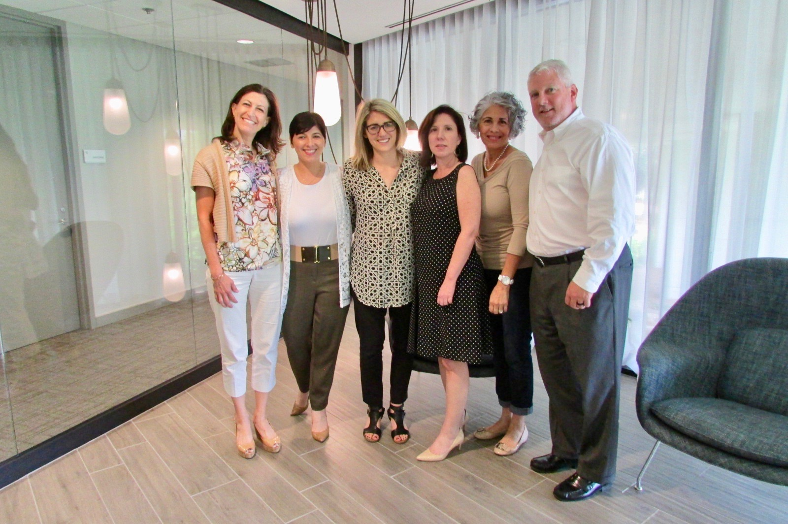 Left to right: Paralegal, Lisa Wilkerson,Operations Coordinator, Monica Azar, Company Culture Enthusiast, Julia Kortberg,Marketing Director, Karen Wilcox, Corporate Paralegal, Coy Pierce, and Co-Founder, Joe English