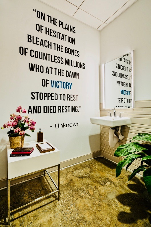 A very meaningful quote written on the wall of a turnerboone bathroom. Laura and Ellen would repeat this quote to one another when times got tough.