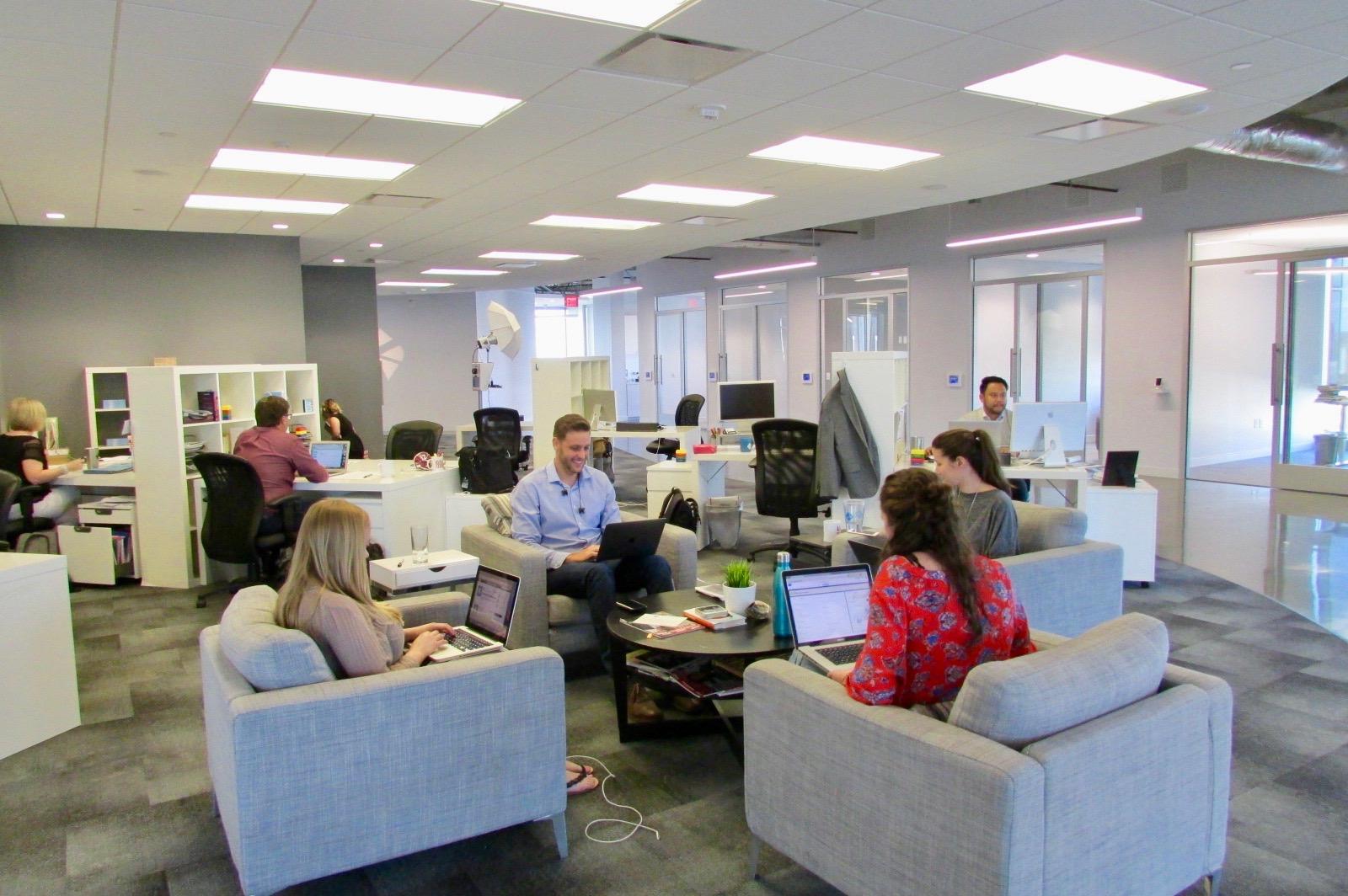 Team members at work.
