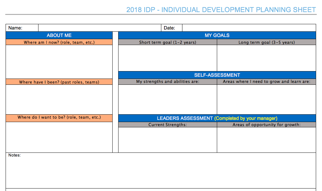 Individual Development Plan courtesy of Pegasus Logistics Group.