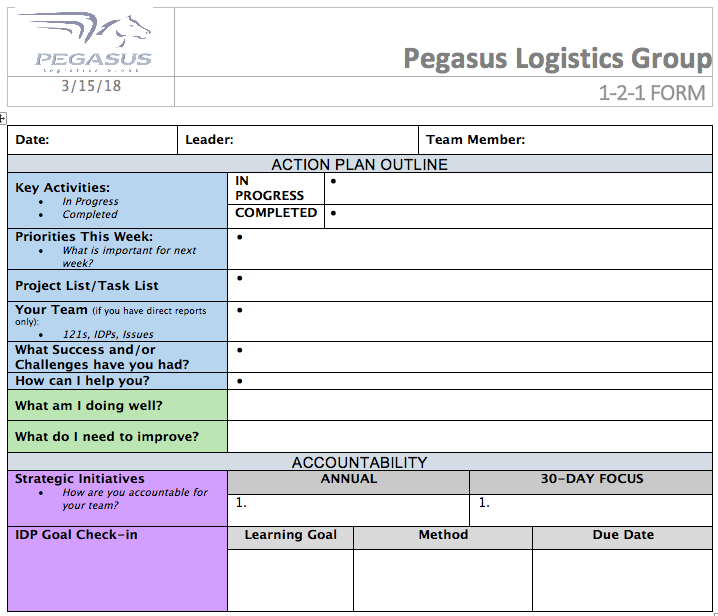 1-2-1 form courtesy of Pegasus Logistics Group.