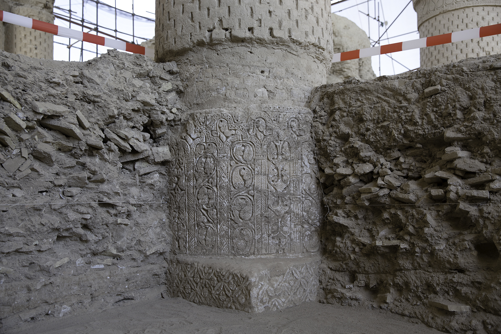 The famed nine domes of Noh Gunbad caved in many centuries ago, burying the mosque's interior. Here a pillar has been partially un-earthed by a team of international and Afghan archaeologists.