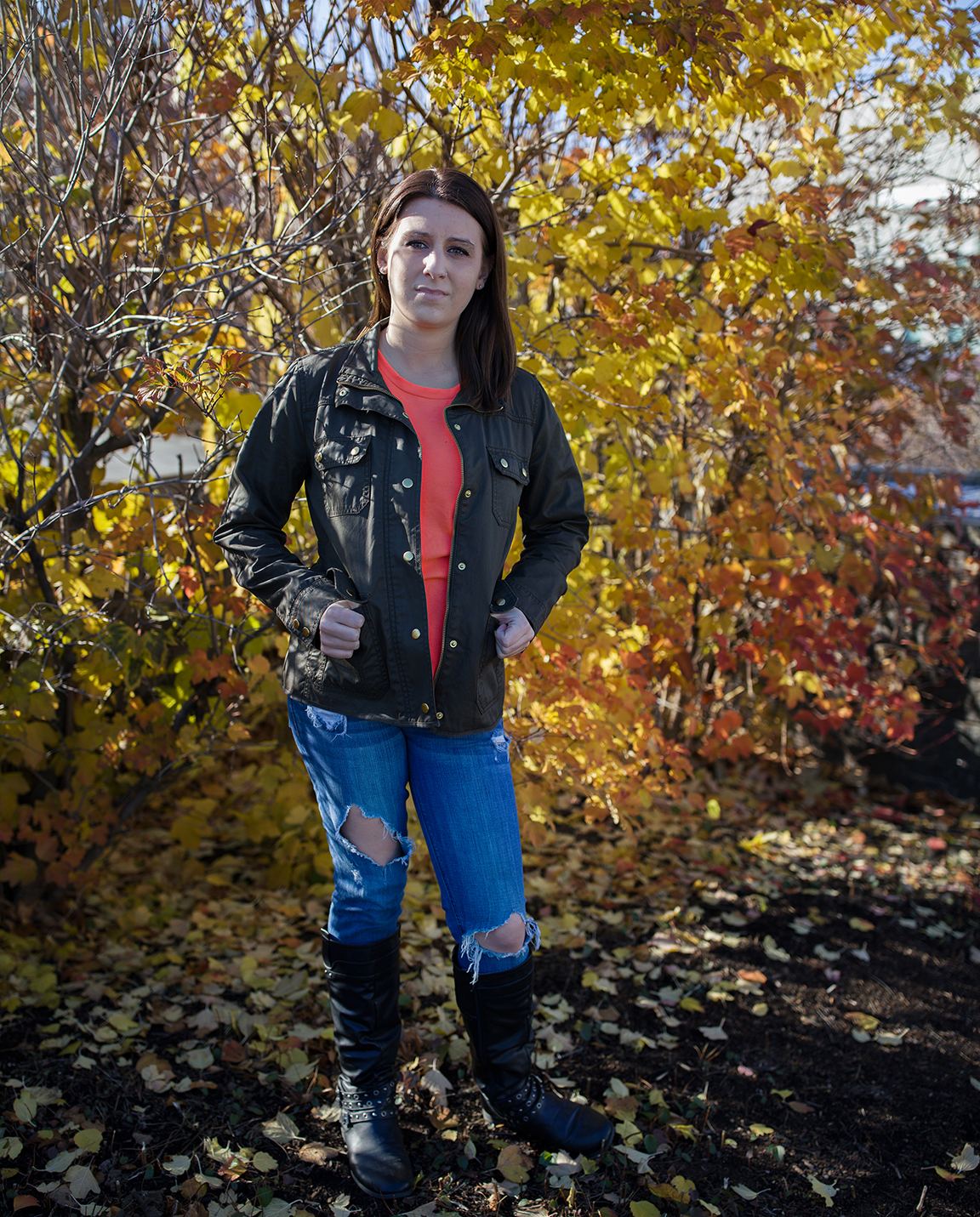 Megan McCarthy stands outside the University of Vermont Medical Center November 24, 2016 in Burlington, Vermont where she had a sonogram to determine the health of her baby girl delivered March 2017. Megan was trafficked from Vermont to Connecticut by a man who once supplied heroin to her and eventually became her pimp.