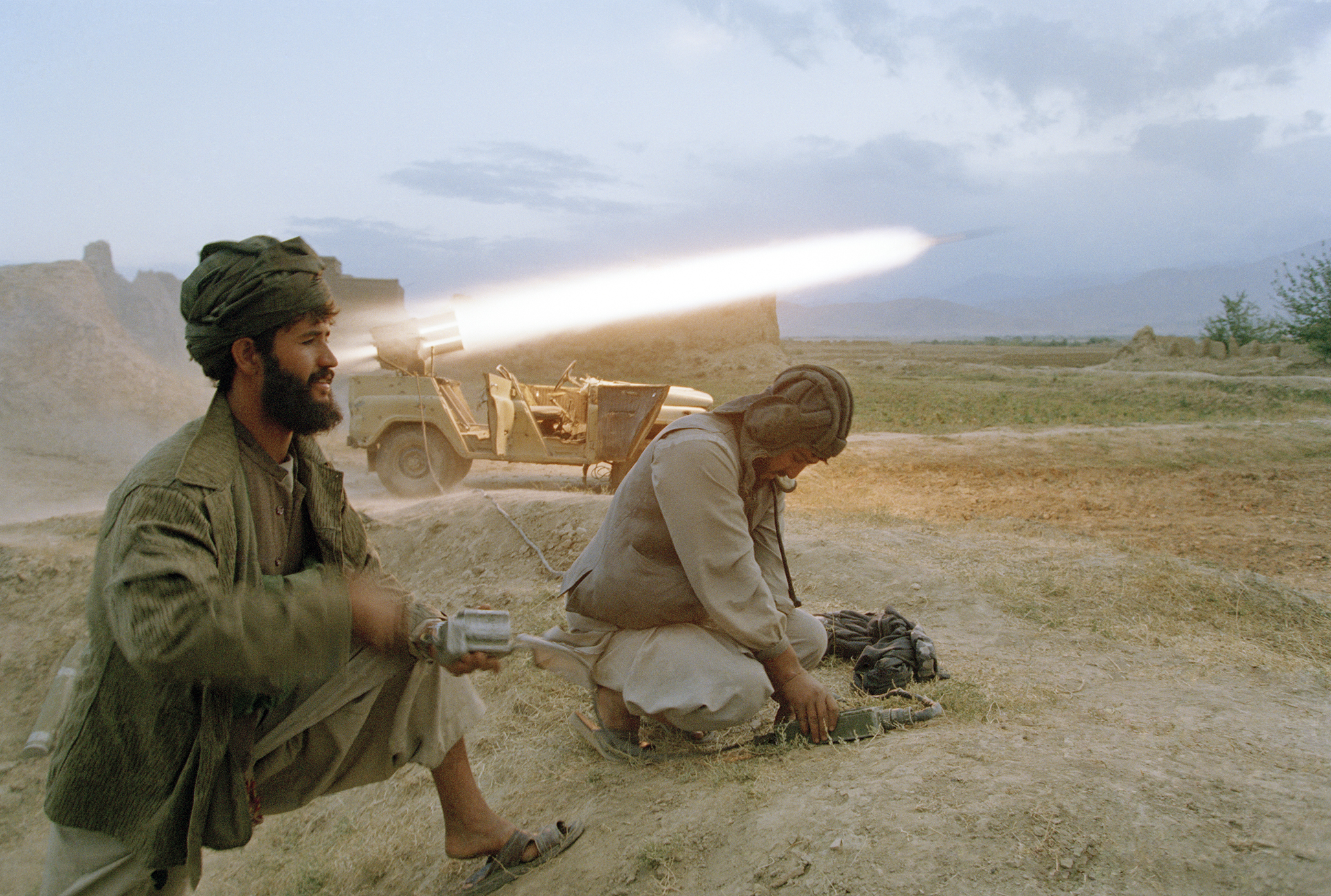 September 1996: Taliban soldiers fire a rocket at retreating forces of the Northern Alliance army north of Kabul. The capital fell to the Taliban on September 27, 1996. The Kabul government's defenses collapsed with little resistance to the Taliban advance.