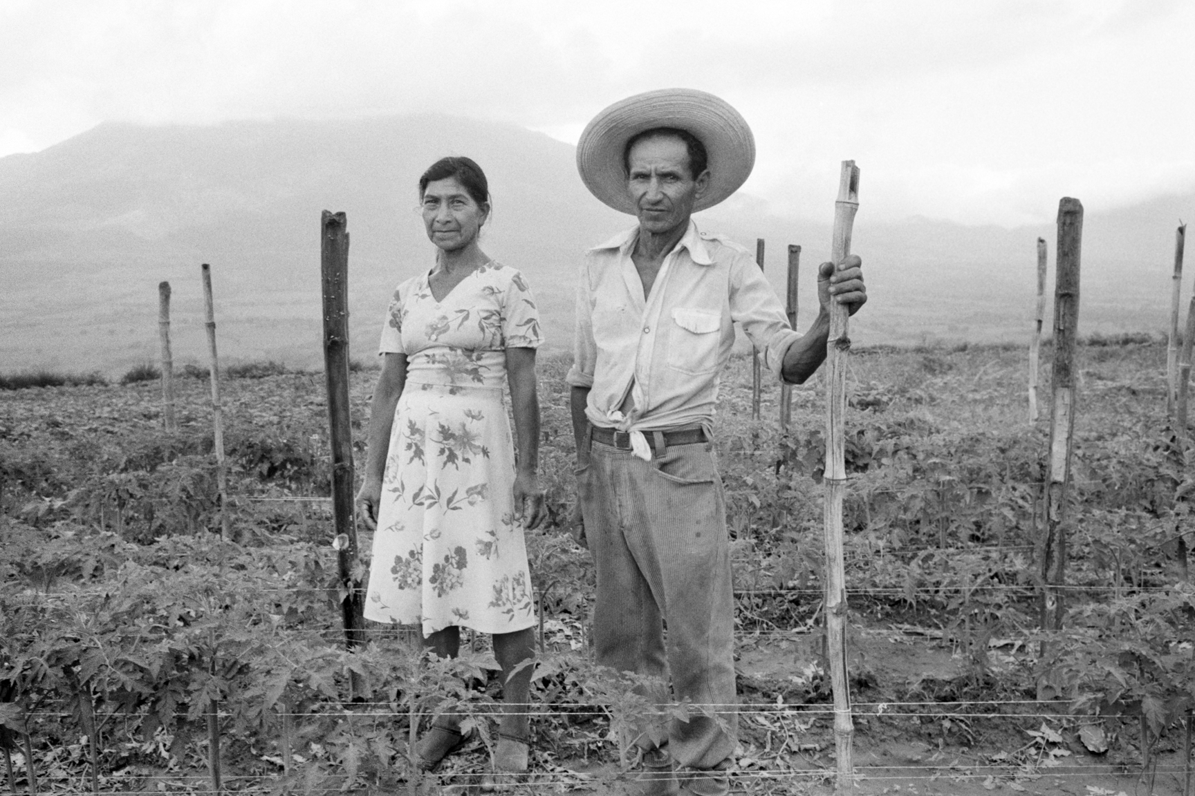 A Salvadoran husband and wife couple stand on their deeded farmland June 26, 1983 in San Vicente, El Salvador. The Salvadoran government under pressure from a violent civil war undertook a land reform program by breaking up large tracts of property owned by prominent families in an effort to quell civil unrest and a left-wing insurgency with wider income distribution and economic opportunities.