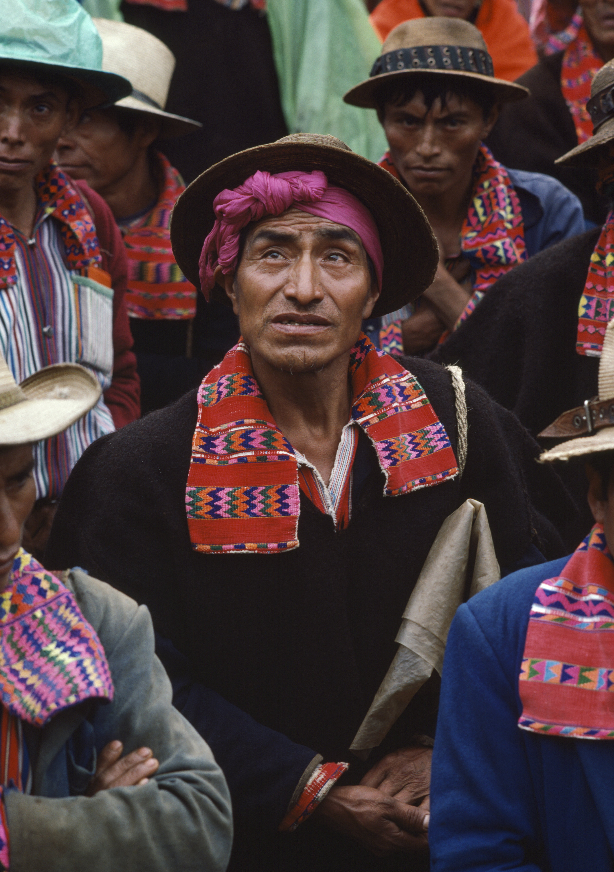 A local Civil Defense Patrol holds a meeting in the village square in Todos Santos, Guatemala on September 1, 1982.