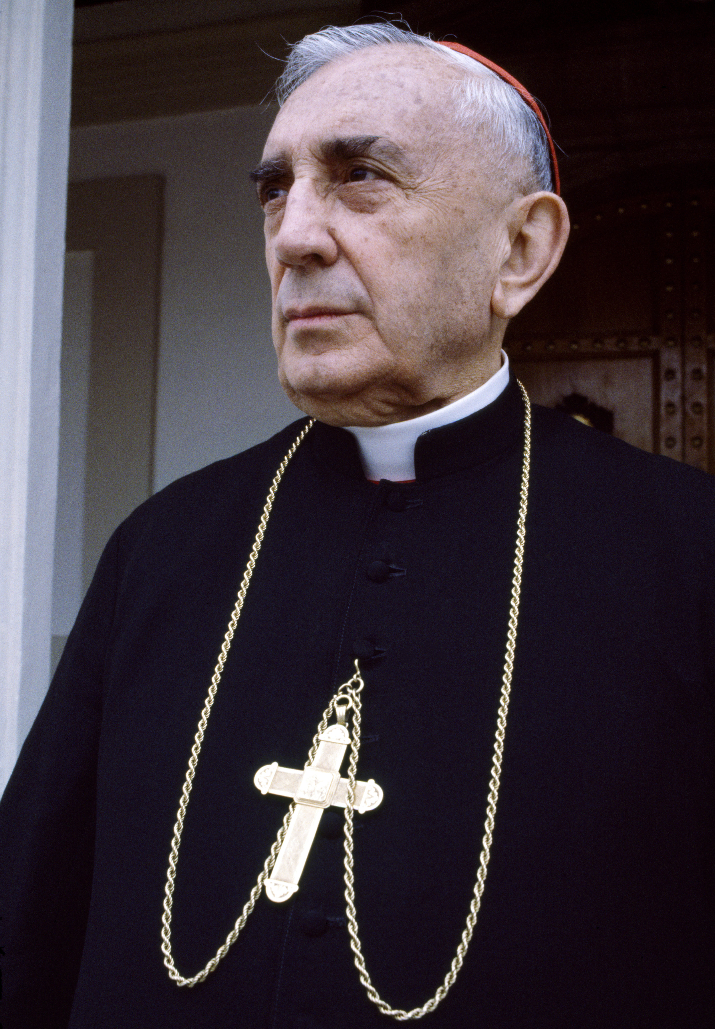 Mario Cardinal Casariego, (1909-1983), the Roman Catholic Archbishop of Guatemala, stands for a photograph in front of Iglesia Central in Guatemala City, Guatemala, February 1, 1983. Cardinal Casariego died June 15, 1983 from a heart attack shortly after the March 1983 visit of Pope John Paul ll to Guatemala. Throughout Guatemala's 36-year civil war, Mario Cardinal Casariego was a supporter of the Guatemalan army's authoritarian regime.