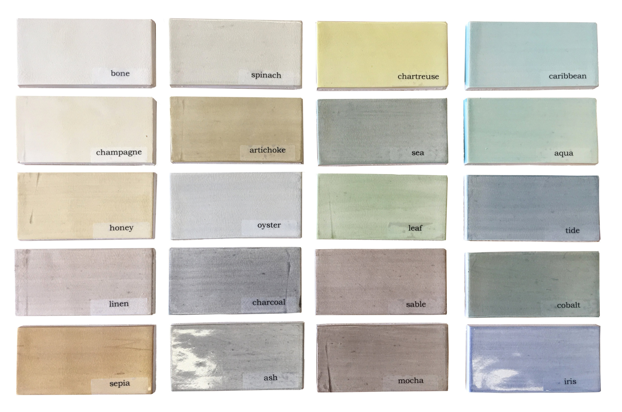 LAYERED WASHES with GLOSS CRACKLE GLAZE:  Each tile is hand brushed in the color of your choice. Shown here are our crackle glaze color options. Satin finish also available.