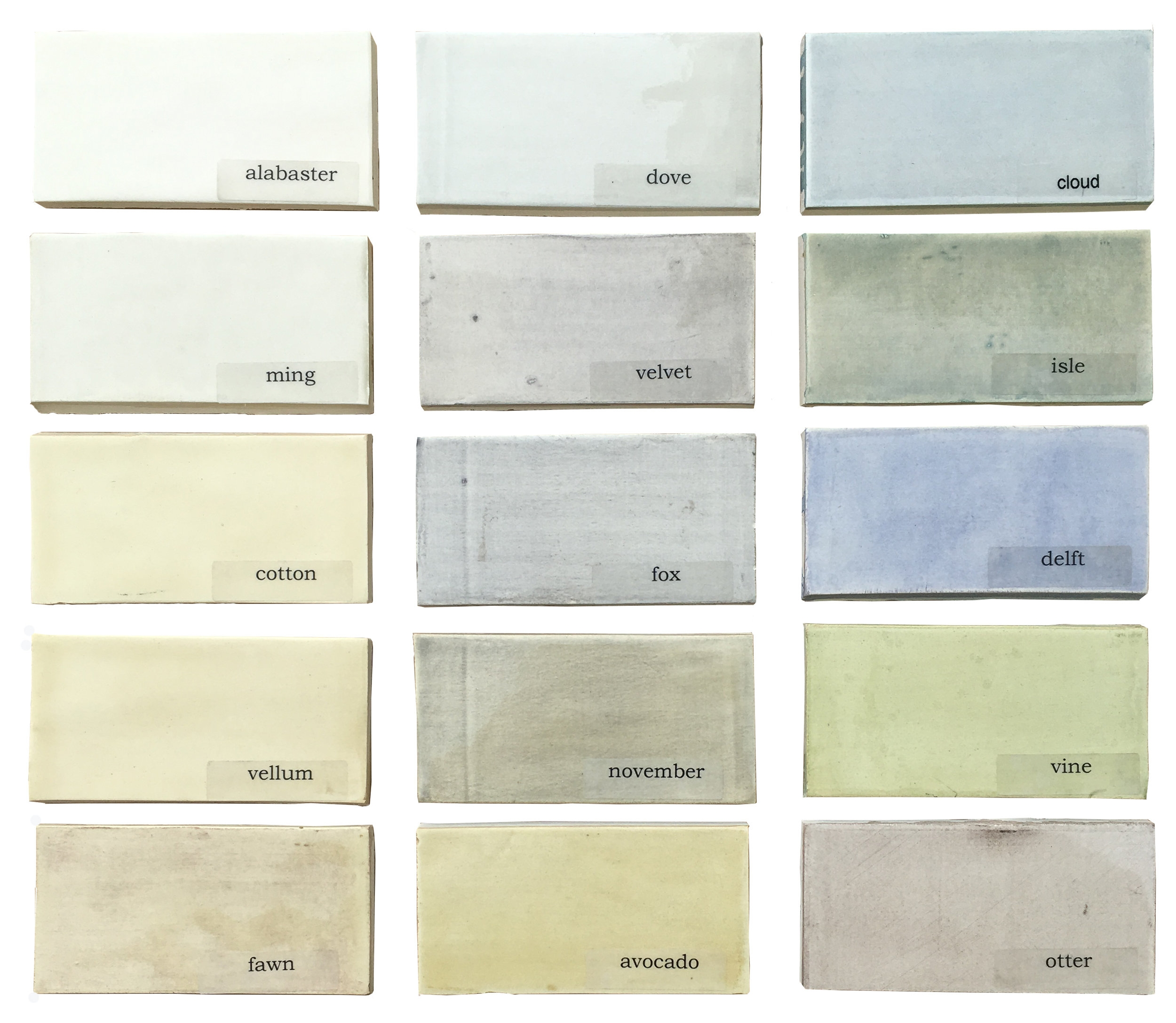 LAYERED WASHES with STANDARD GLOSS GLAZE:  Noncrackle gloss glaze color palette. Satin finish also available.