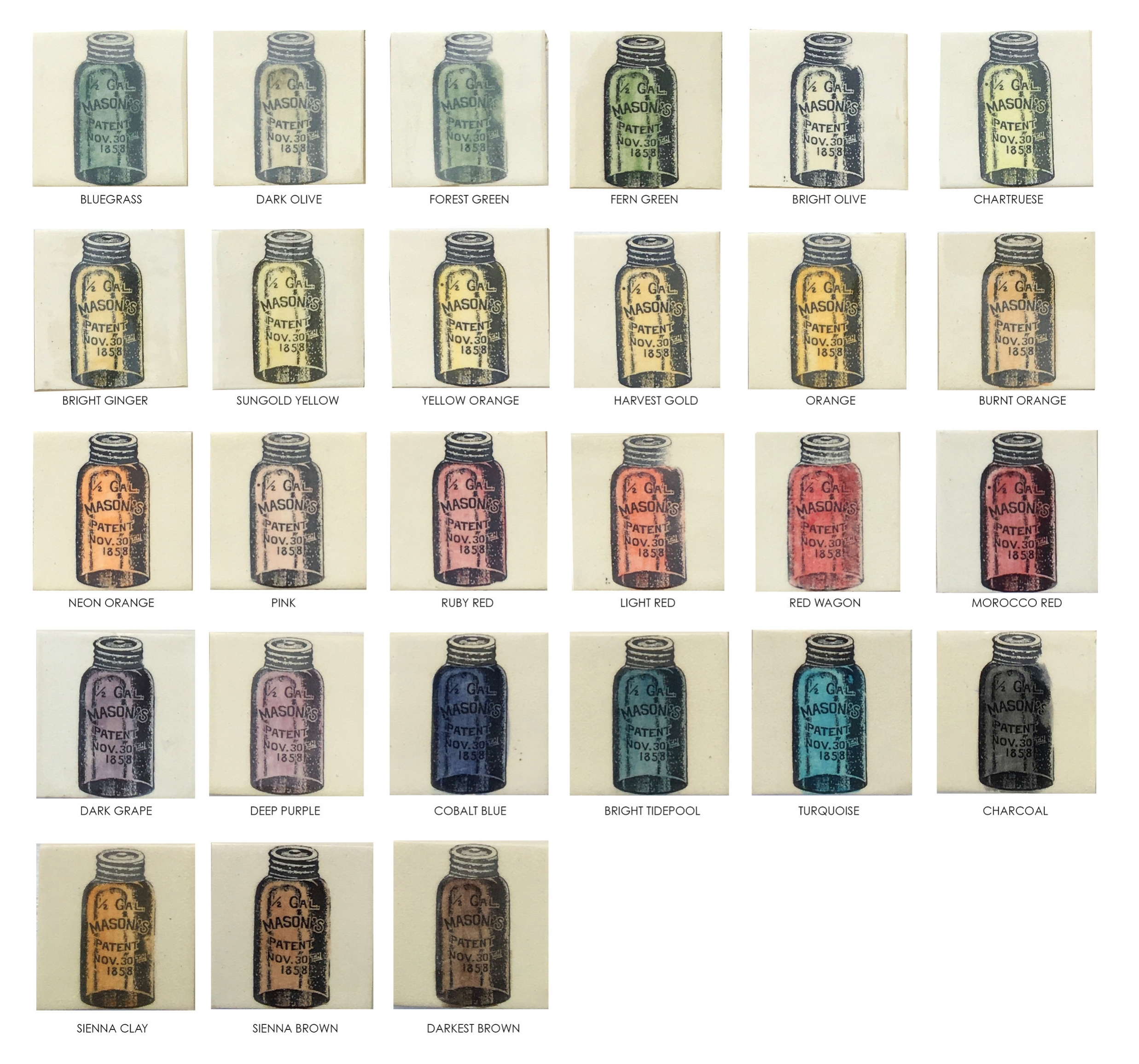 Hand Painted Decorative Tiles:  Any of our prints can be hand painted in any of these colors