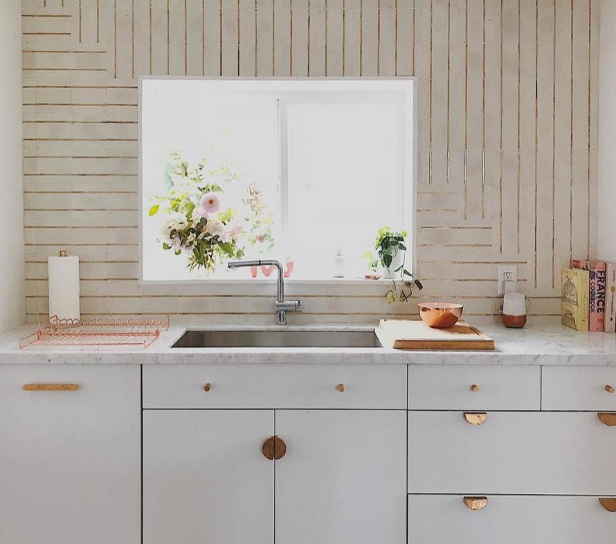 Basel tile by Tabarka Studio. Kitchen design by  @designlovefest