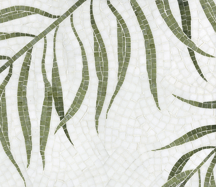 NEW RAVENNA: PALM a hand-cut stone mosaic, shown in polished Thassos and Chartreuse