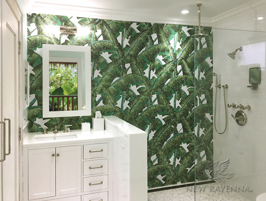 NEW RAVENNA: Custom hand-cut jewel glass Banana Leaf mosaic by New Ravenna. photo courtesy of Sticks & Stones of West Palm Beach, FL