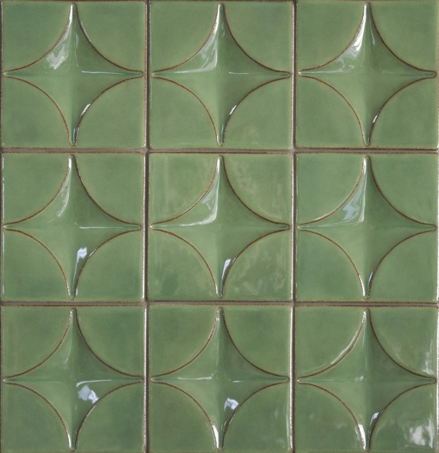 Syzygy Tile - A nod to both traditional and modern styles. Handcrafted dimensional tiles with a craftsman-esque glaze palette.