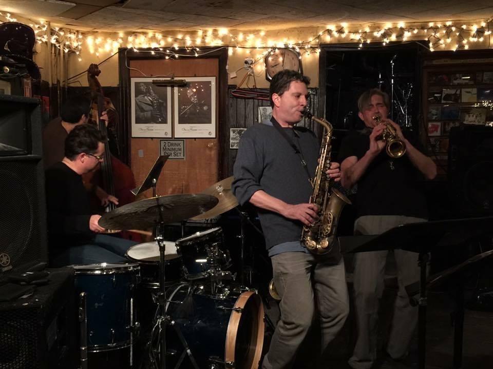 Vinson Valega Quartet at The 55 Bar, NYC. With Gary Wang (bass), Anton Denner (alto), and Chris Bacas (tenor).