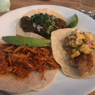 Chicken Tinga, Snapper and Beef Guisida Tacos from Taco Shack