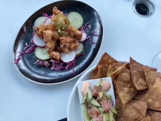 Shrimp Tempura and Tuna Tartare from Brix + Brine