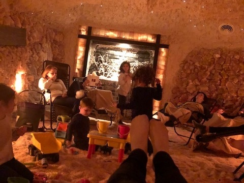 Salt Cave of Darien - At a Children's Session, the kids can play in the salt while the grown ups relax.