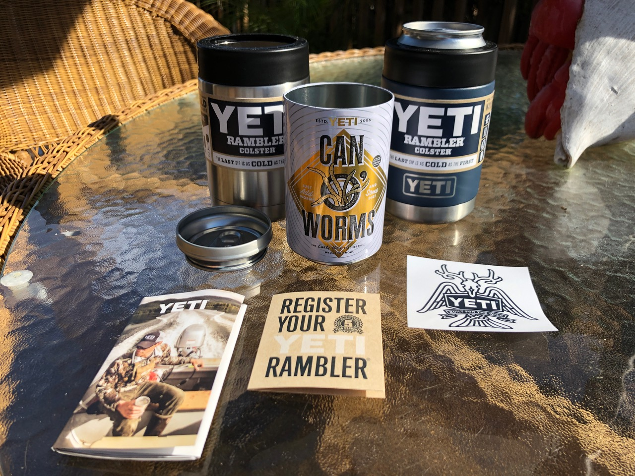 "YETI Rambler Colster Beer Insulator ""Unwrapped"" On Table"