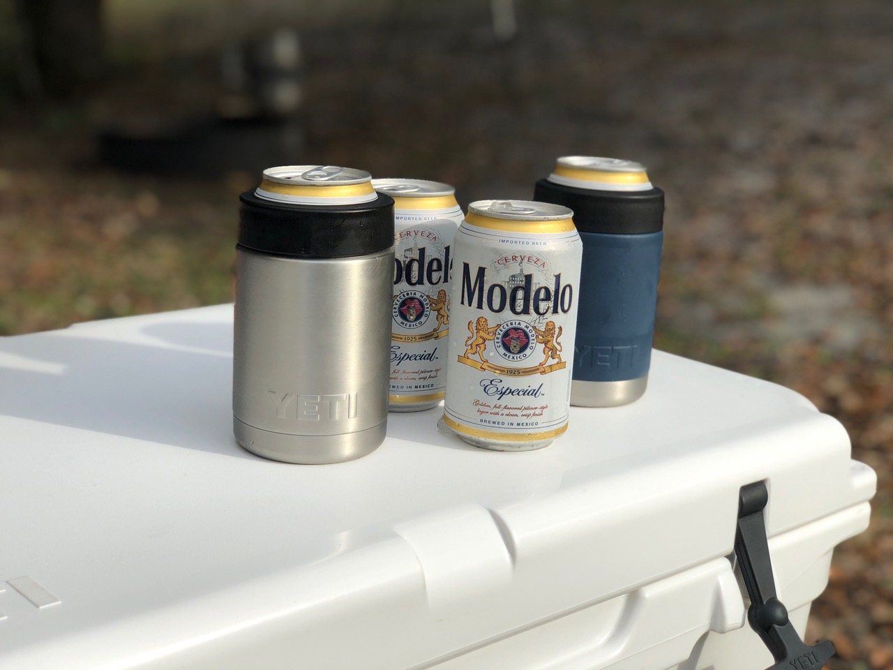 Two YETI Rambler Colsters on YETI Cooler With Modelo Beer