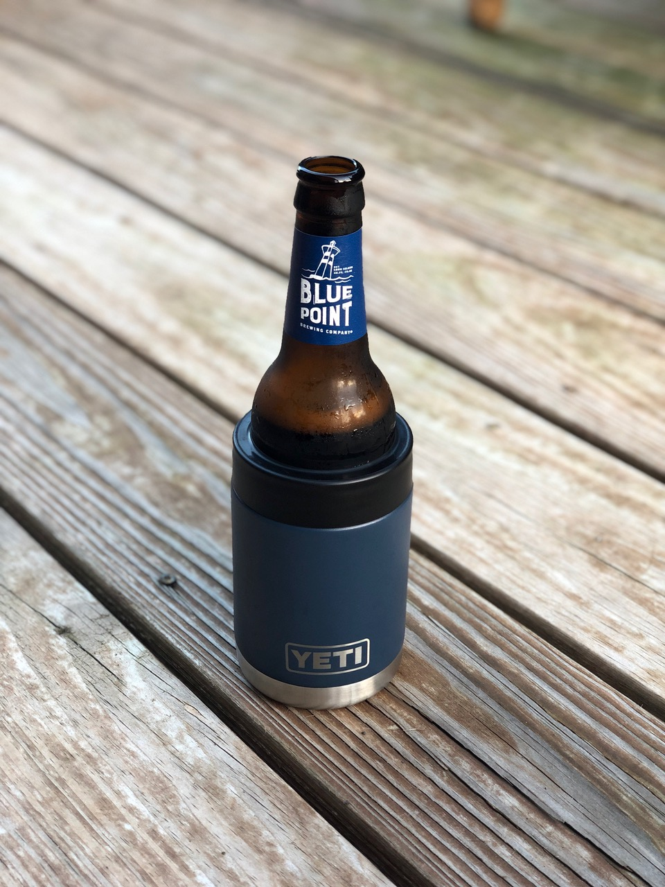 Two YETI Rambler Colster (Navy) With Blue Point Beer