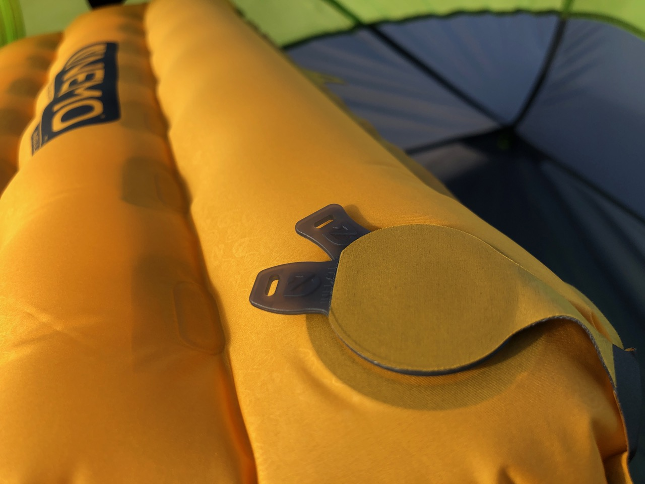 NEMO Tensor Regular Insulated Ultralight Sleeping Pad (2019) Close UP of LayLow Inflation Valve (Closed)