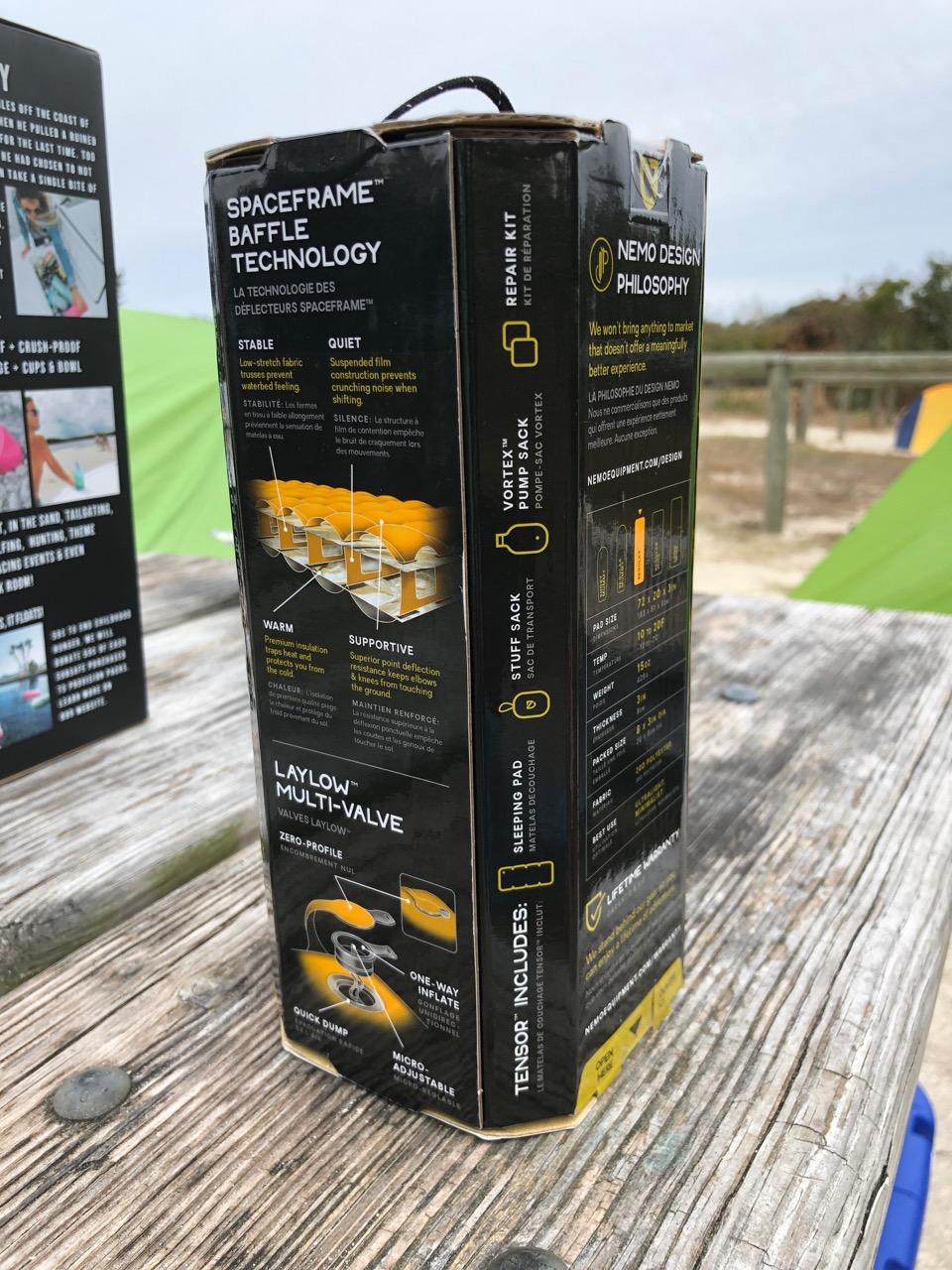 NEMO Tensor Regular Insulated Ultralight Sleeping Pad (2019) In Box (Back)