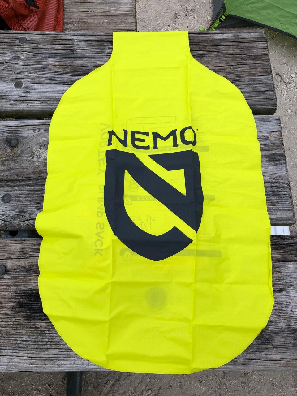 NEMO Tensor Regular Insulated Ultralight Sleeping Pad (2019) Vortex Inflation Sack (Front)