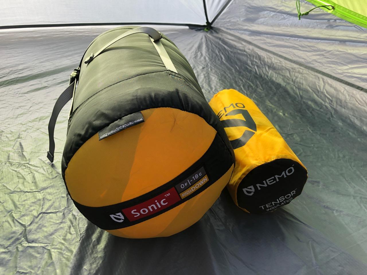 NEMO Tensor Regular Insulated Ultralight Sleeping Pad (2019) Next To Sonic 0 Degree Sleeping Bag