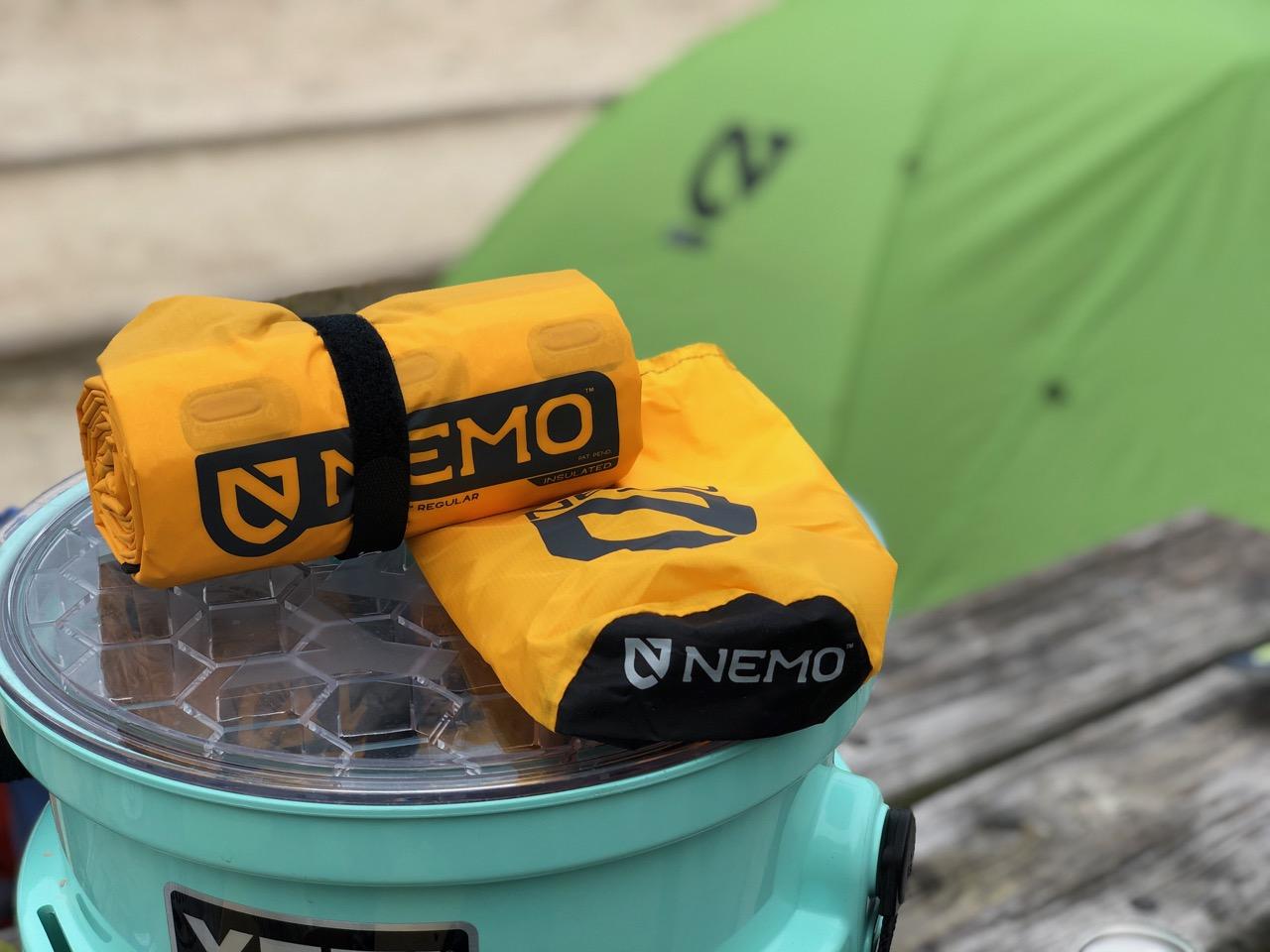 NEMO Tensor Regular Insulated Ultralight Sleeping Pad (2019) Unpacked On YETI Loadout Bucket