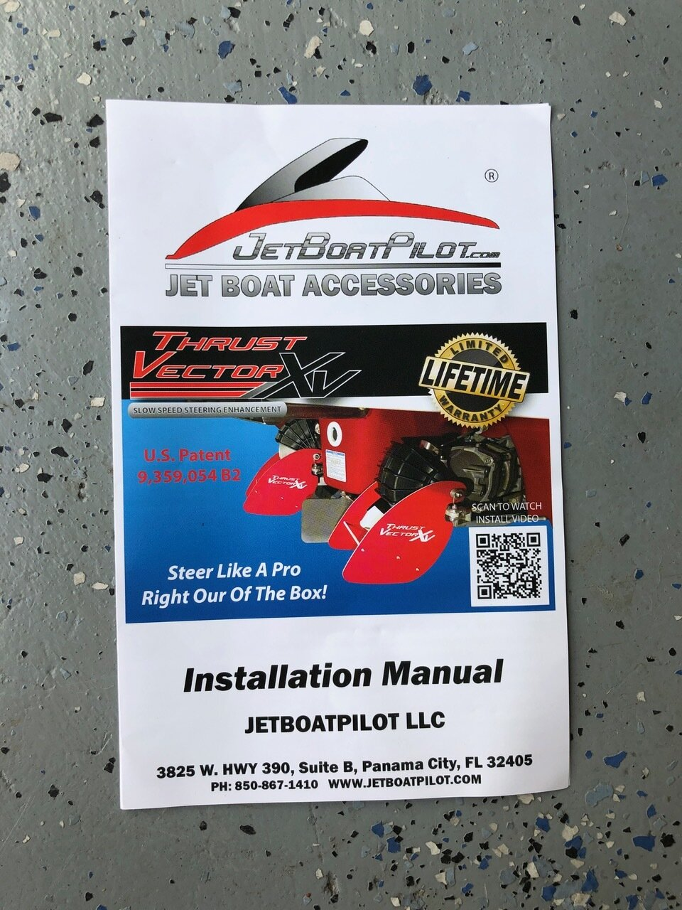 Close-Up of JetBoatPilot Thrust Vector XV Instruction Manual (Front)
