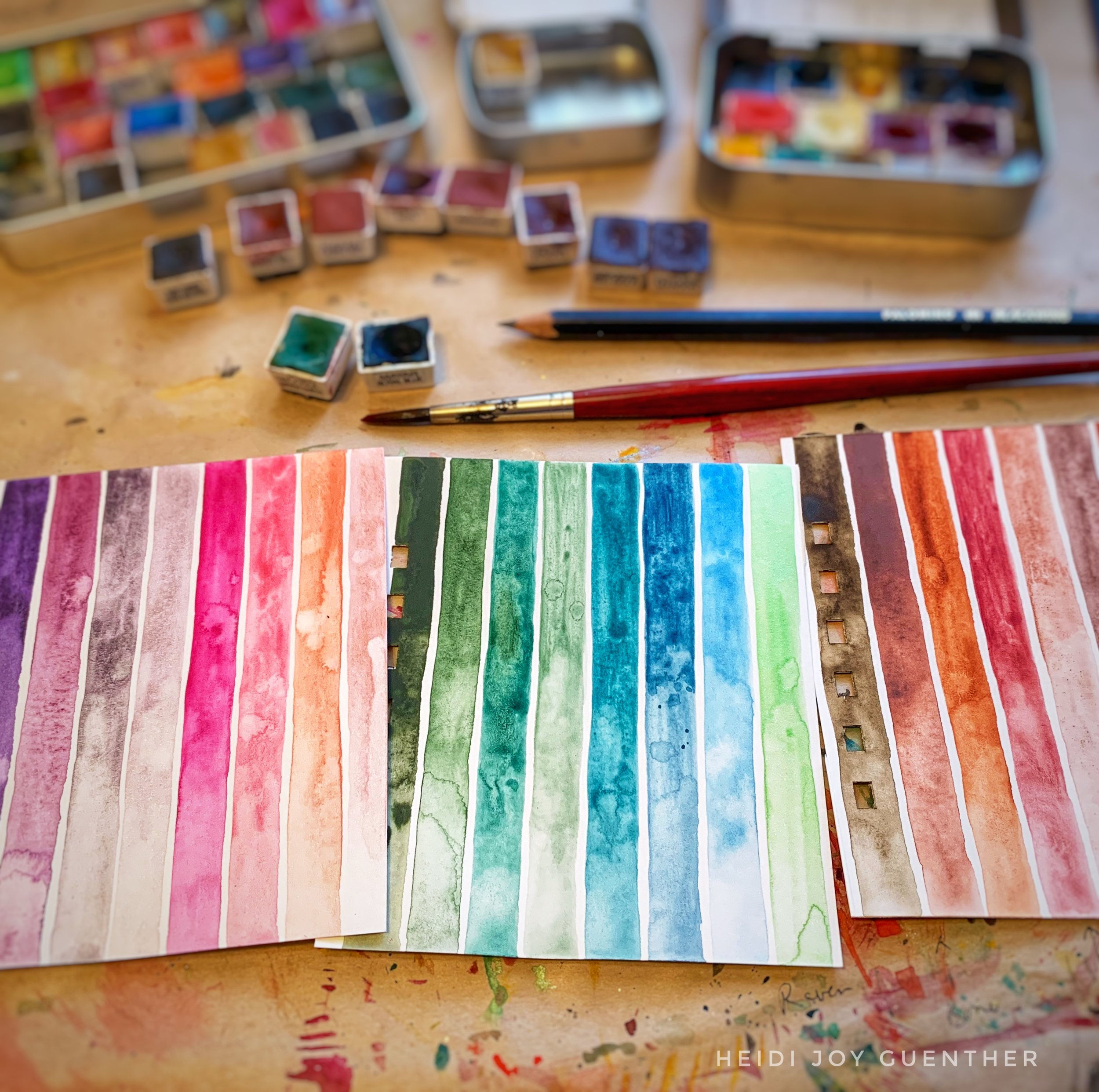 The Stripes exercise is one of my favourite exercises to learn the colour, to practice handling a brush, and to teach how to dilute the colour with water. It's calming, meditative and creates beautiful results!