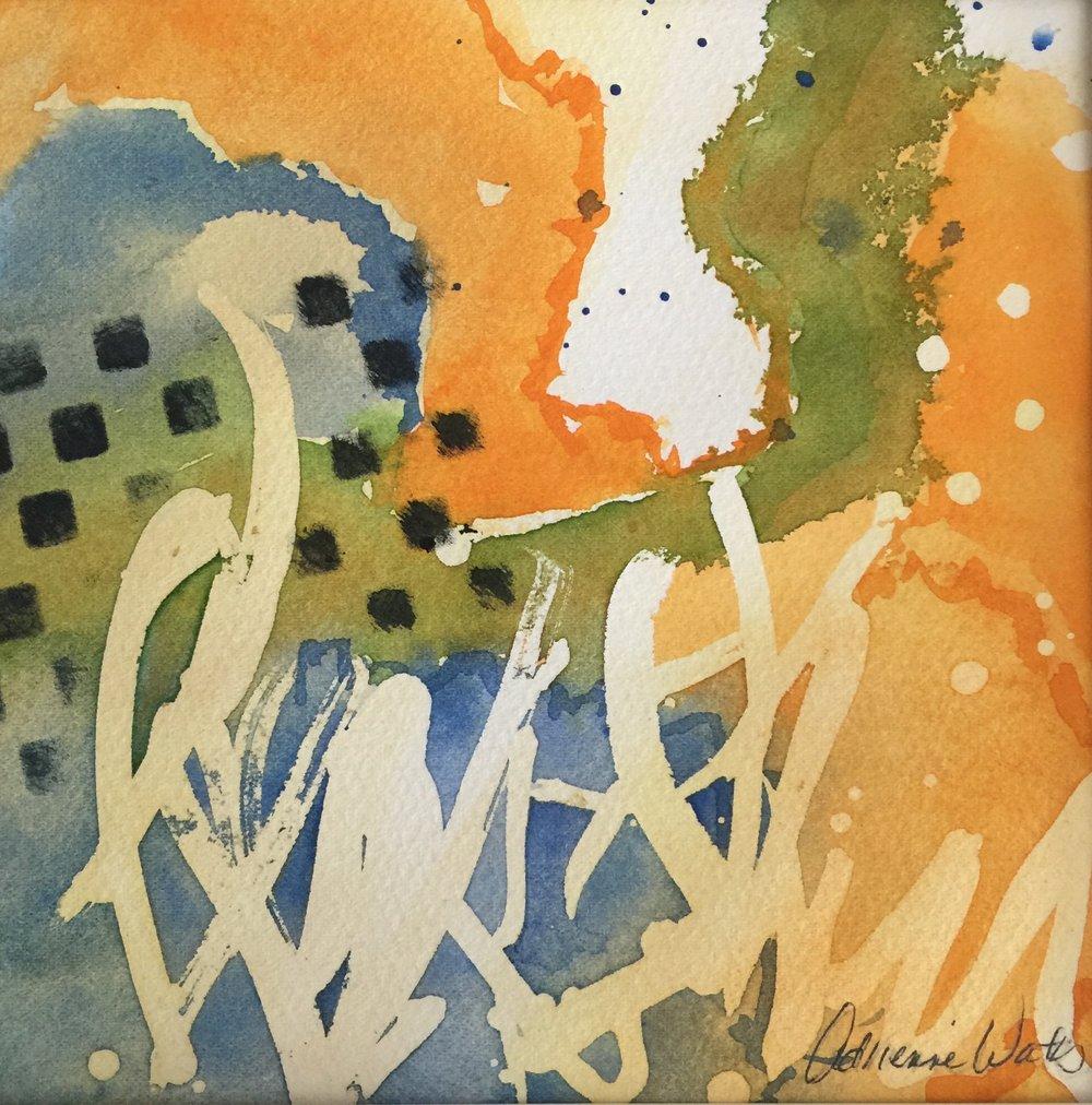 """Edge #1,   Watercolor 6""""x6"""""""