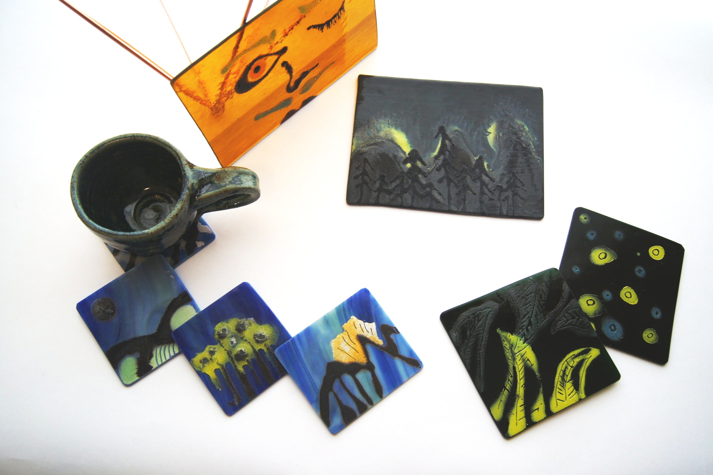 "In this 2 Hour workshop, you will get to choose to paint on a set of 4 coasters or One 6"" x 4"" panel of glass to hang on your window or wall! It is a great time to get to get to know certain compositions of glass and how the process of glass works. Plus once its fired in the kiln, you get to take home this awesome hardcore medium and show it off to your family and friends. Or make it a gift for someone special. More details coming soon! Stay tuned!"