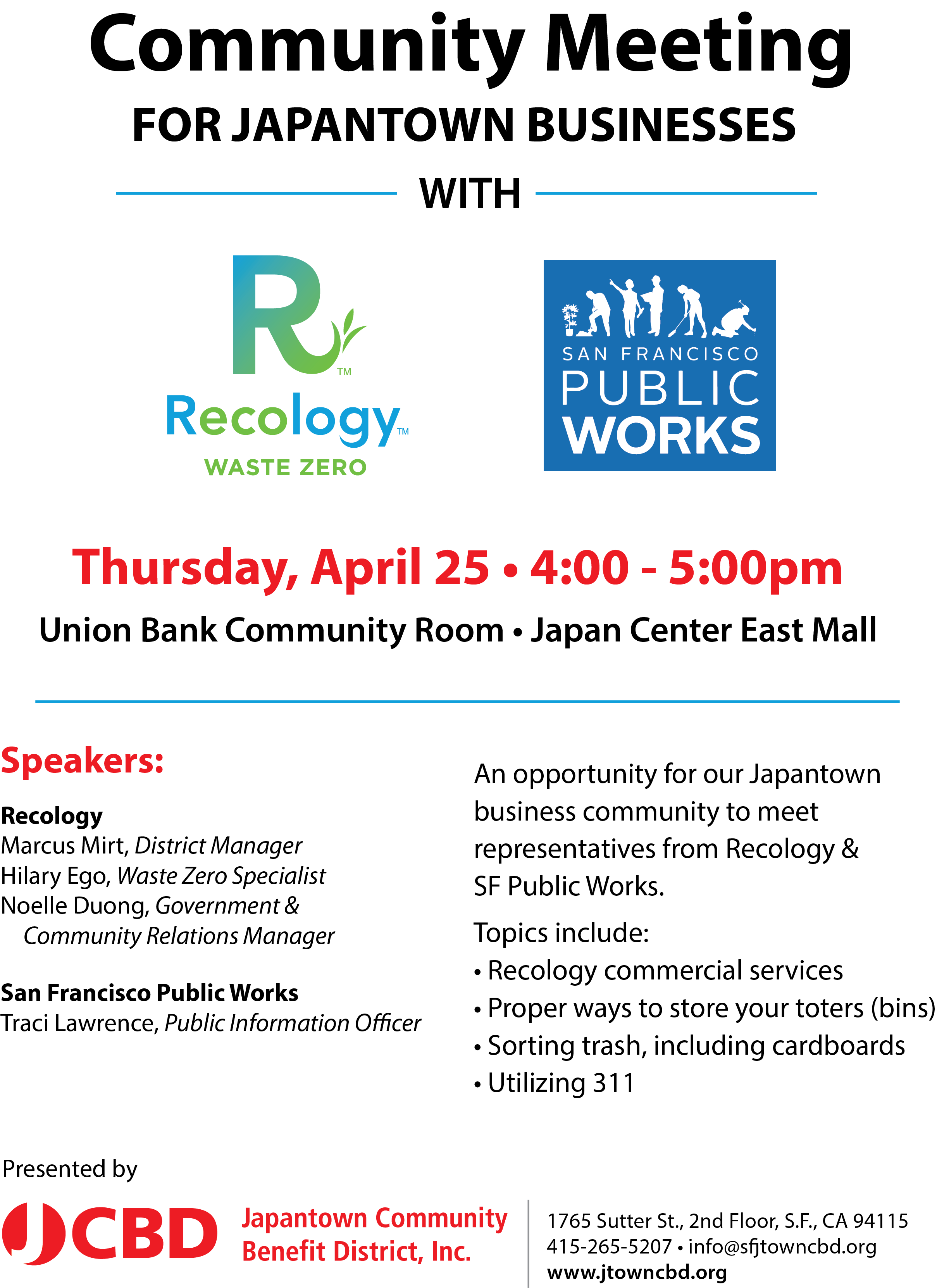 JCBD COMMUNITY MEETING WITH Recology & DPW
