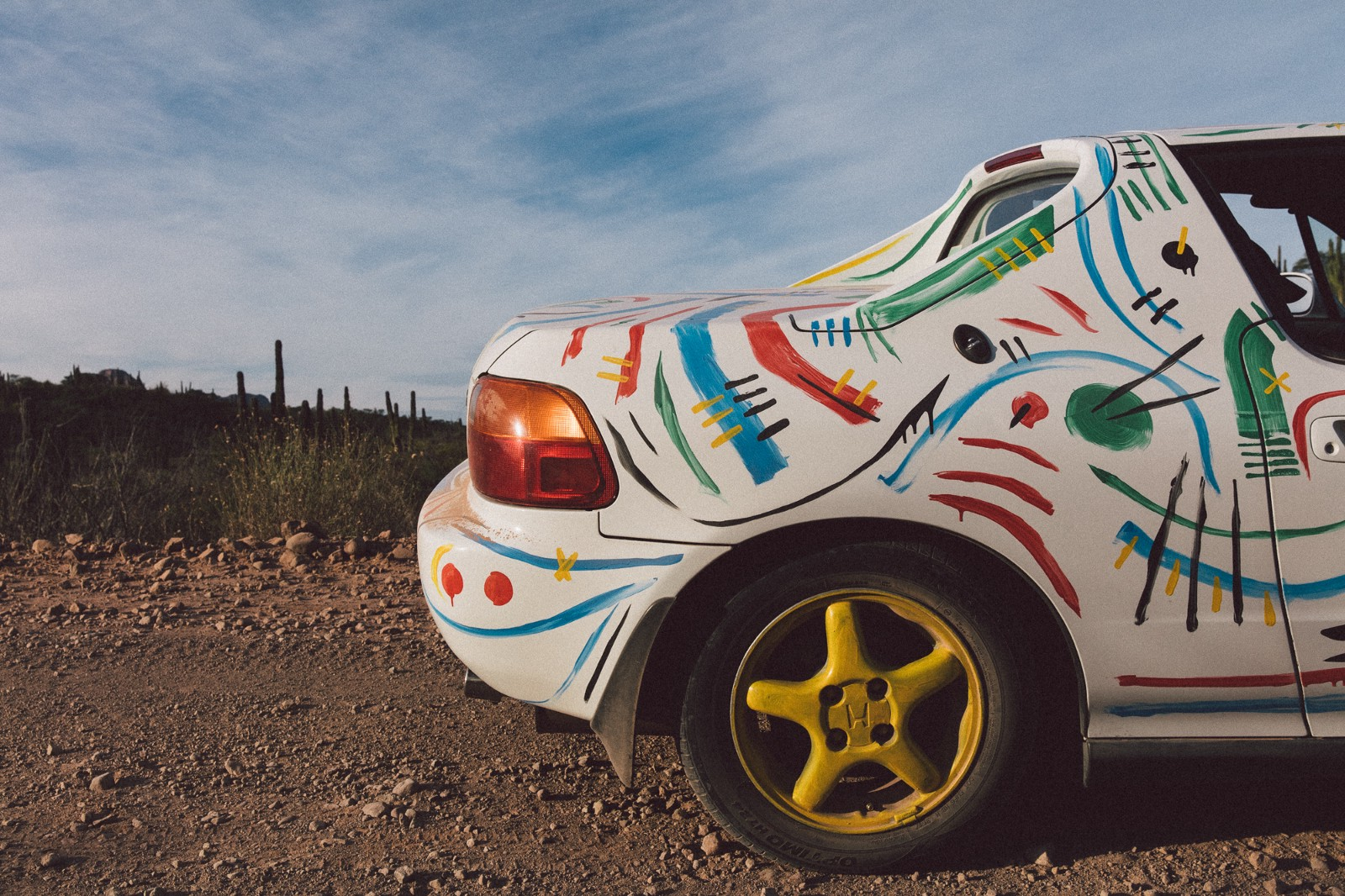 The backside of the Honda Del Sol I painted 'crazy' shot somewhere in Baja, Mexico by  Daniel N. Johnson