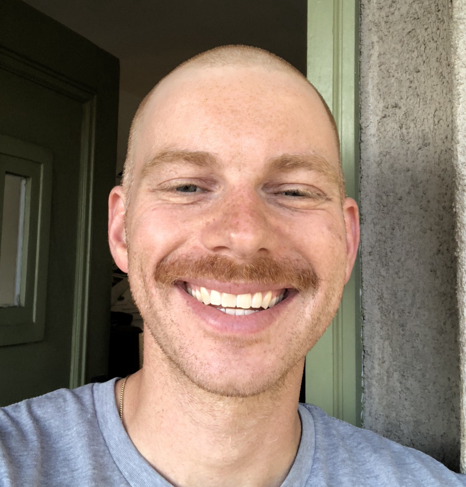 A real live smile, with a little bit of mustache for added oomph.