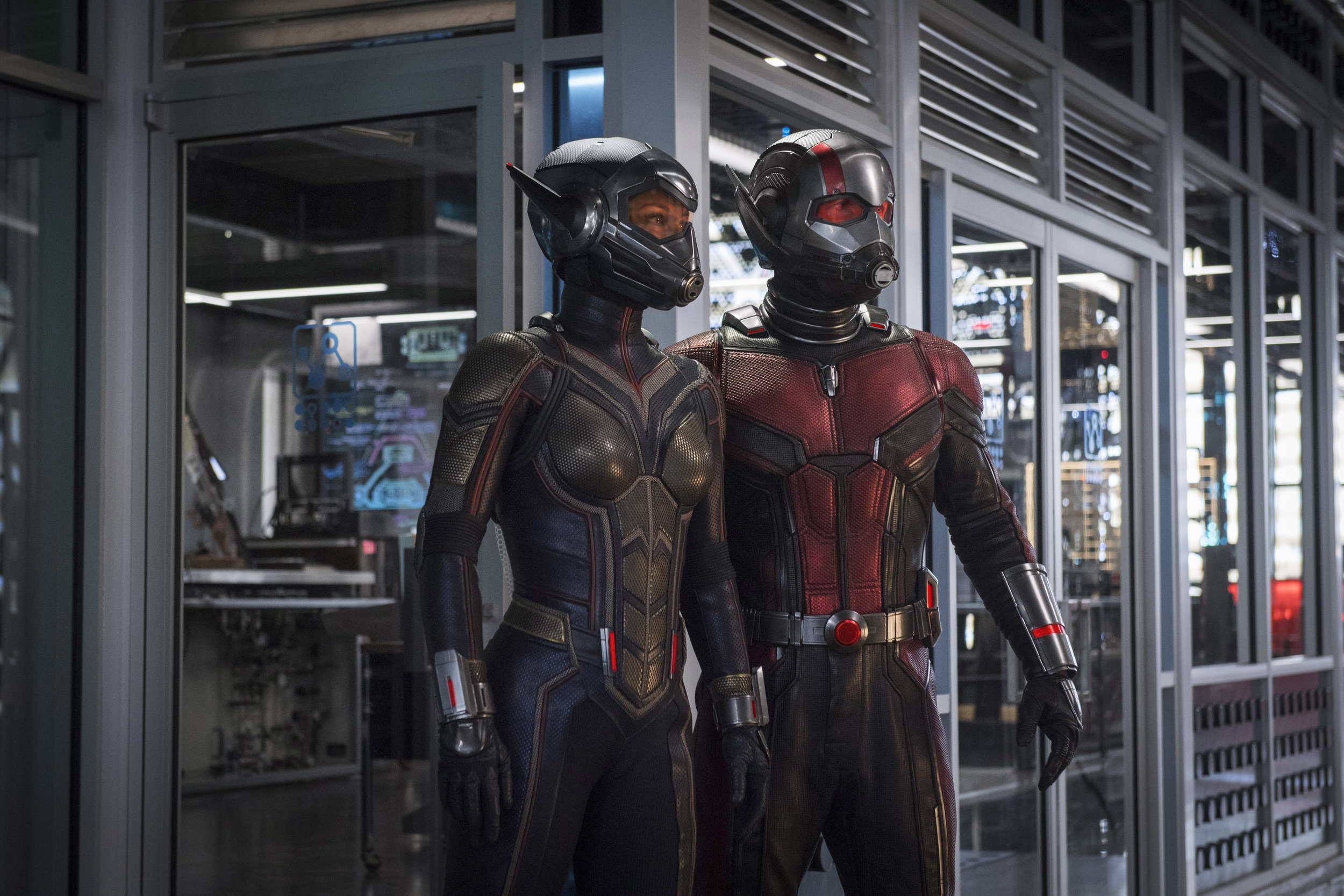 """Evangeline Lilly (left) and Paul Rudd suit up for action in Marvel's """"Ant-Man and the Wasp."""" (Photo courtesy Marvel Studios / Walt Disney Pictures)"""
