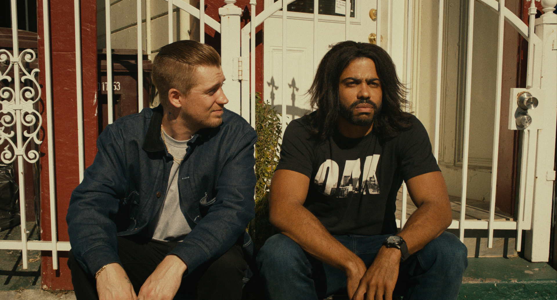 """Rafael Casal (left) and Daveed Diggs play best friends in """"Blindspotting,"""" which the two wrote. (Photo by Robby Baumgartner, courtesy Lionsgate)"""