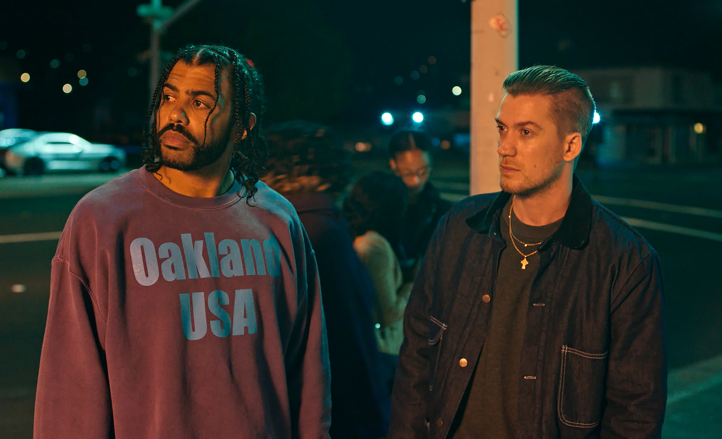 """Collin (Daveed Diggs, left) and Miles (Rafael Casal) are best friends watching the changes in their hometown, Oakland, Calif., in """"Blindspotting,"""" which Casal and Diggs wrote. (Photo courtesy Annapurna Pictures)"""