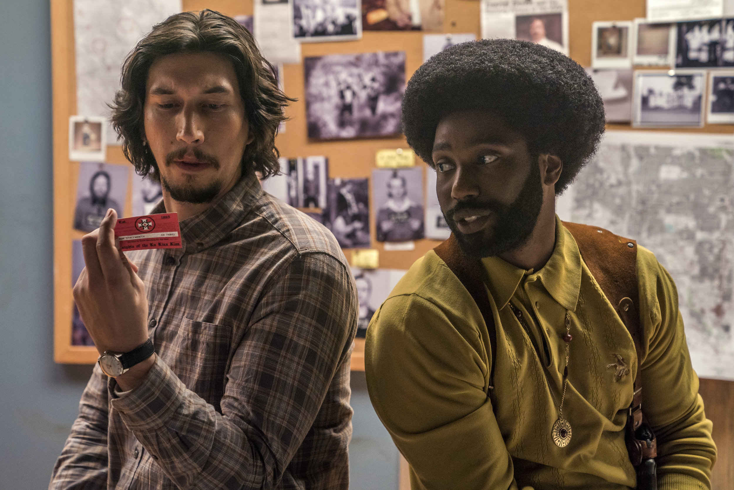"Colorado Springs detectives Flip Zimmerman (Adam Driver, left) and Ron Stallworth (John David Washington, right) work to infiltrate the Ku Klux Klan, in Spike Lee's true-life drama ""BlacKkKlansman."" (Photo courtesy Focus Features)"