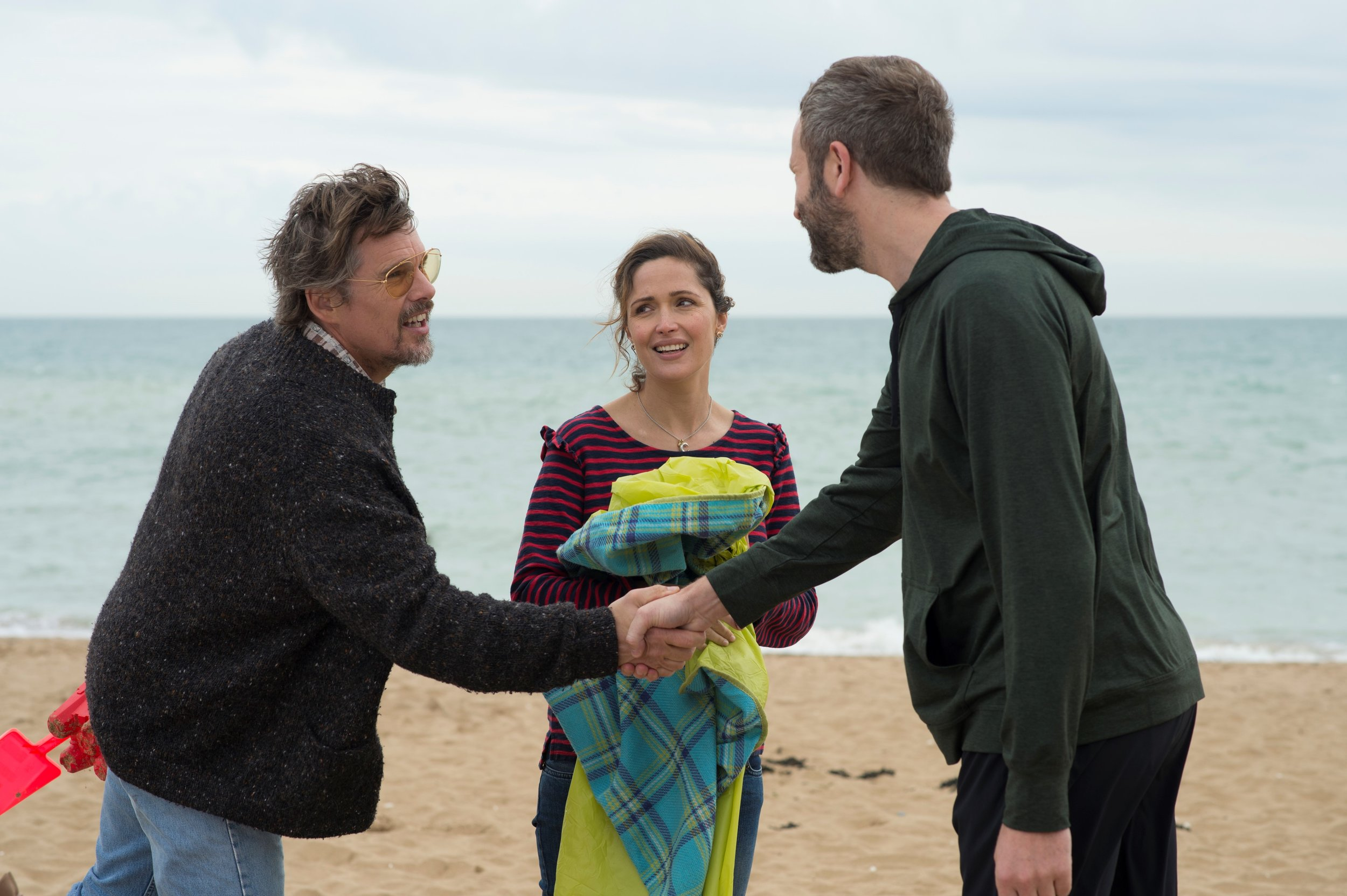 "Annie (Rose Byrne, center) is put in the awkward position of introducing her longtime boyfriend, Duncan (Chris O'Dowd) to Tucker Crowe (Ethan Hawke), the reclusive musician over whom Duncan has long obsessed, in a scene from the comedy ""Juliet, Naked."" (Photo by Alex Bailey, courtesy Lionsgate/Roadside Attractions)"