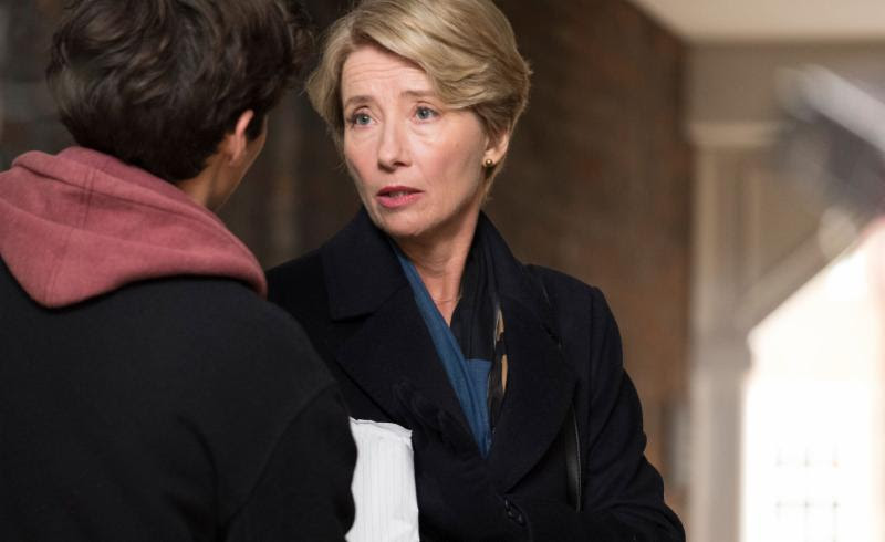 """Judge Fiona Maye (Emma Thompson) is confronted by young Adam Henry (Fionn Whitehead) after a momentous ruling, in the drama """"The Children Act."""" (Photo by Nick Wall, courtesy A24 Films)"""