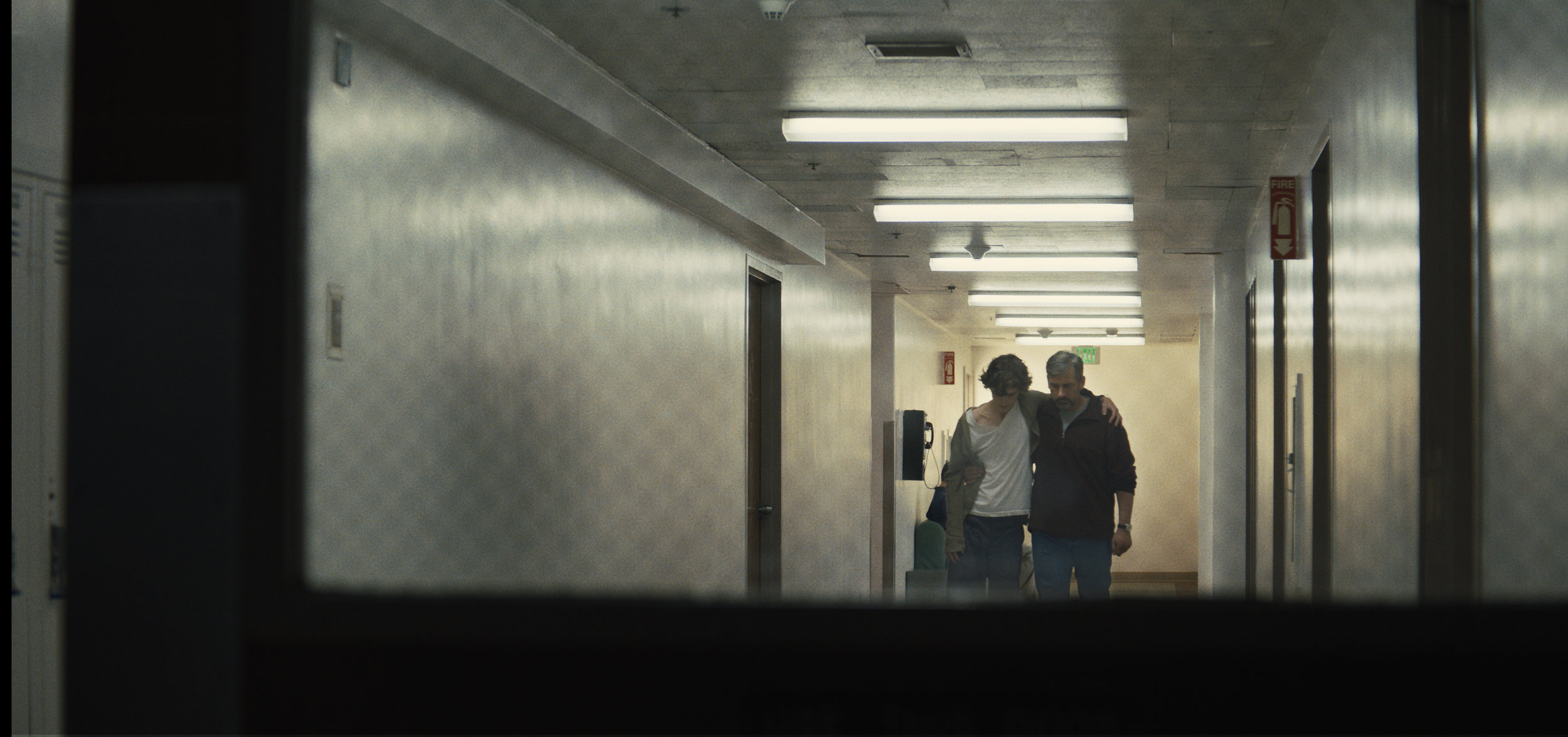 "Nick Sheff (Timothée Chalamet, left) returns to rehab, accompanied by his father David (Steve Carell), in the drama ""Beautiful Boy."" (Photo by Francois Duhamel, courtesy Amazon Studios)"