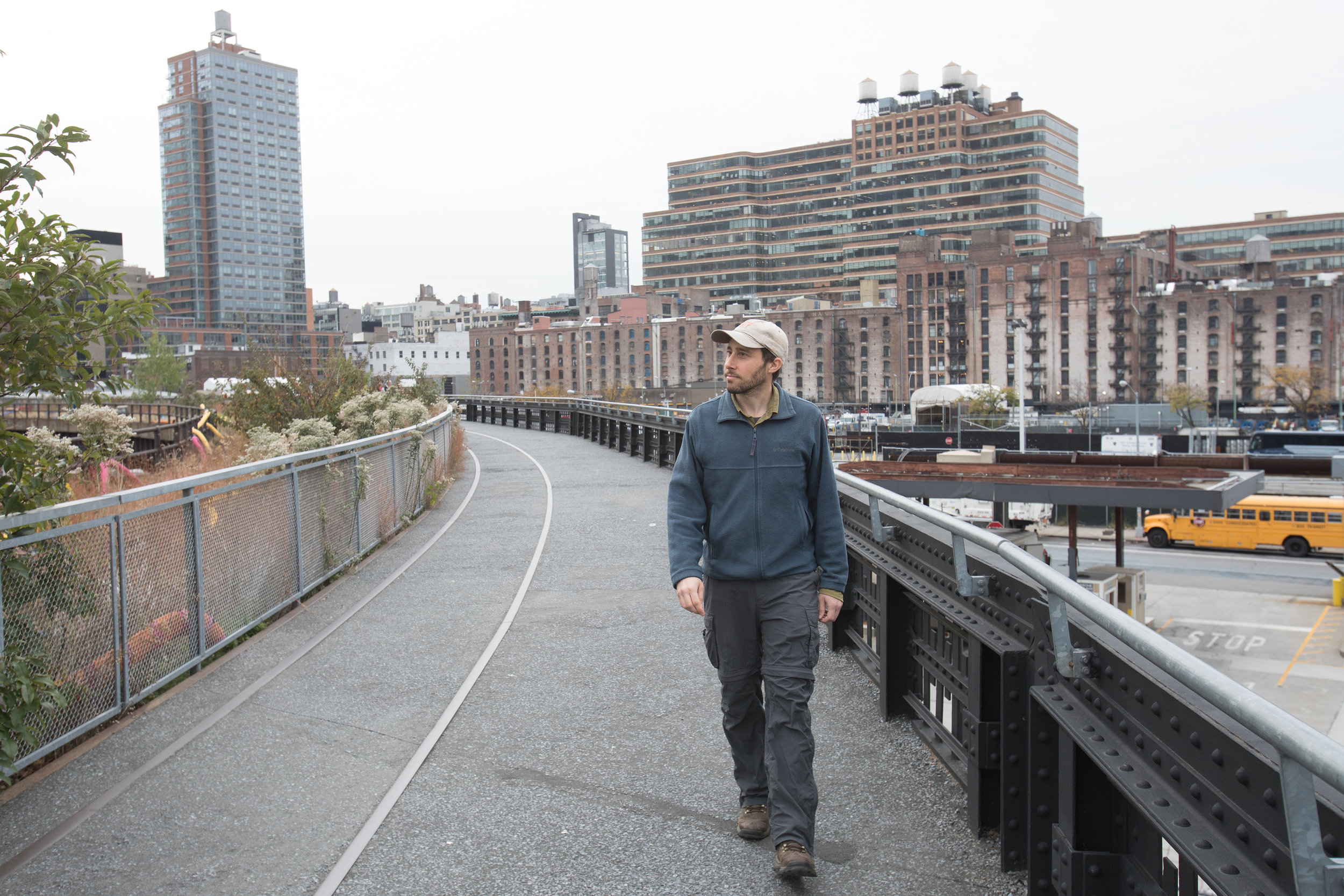 """Matt Green walks near Hudson Yards in Manhattan, part of his six-year quest to walk every street in New York City, chronicled in the documentary """"The World Before Your Feet."""" (Photo courtesy Greenwich Entertainment)"""