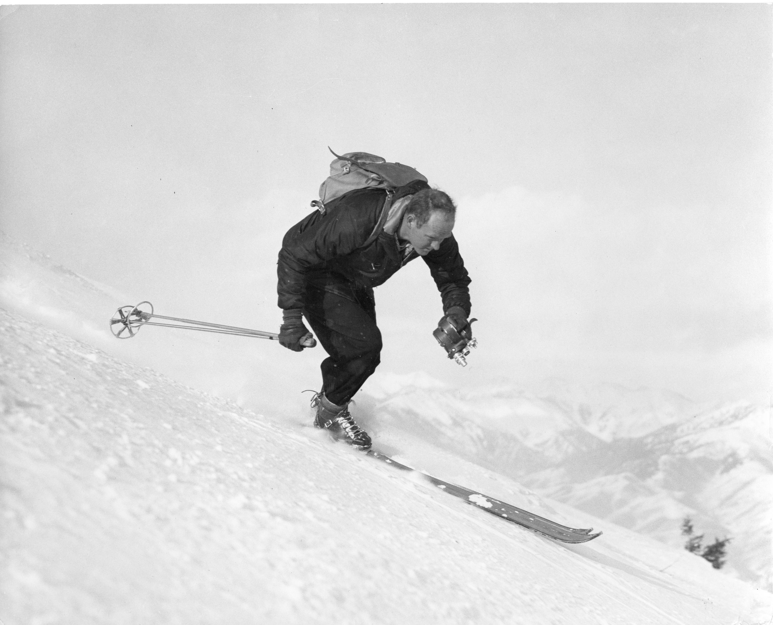 """Warren Miller, seen here in his early days of skiing and filming simultaneously, is the subject of the documentary """"Ski Bum: The Warren Miller Story,"""" which premieres Friday, Jan. 25, in Park City as the opening-night film of the 2019 Slamdance Film Festival. (Photo courtesy of Lorton Productions)"""
